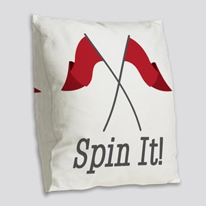 Spin It Burlap Throw Pillow