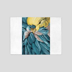 Blue Budgie Parakeet Bird 5'x7'Area Rug