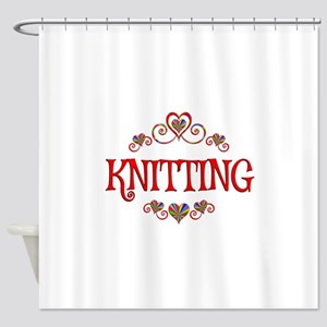 Knitting Hearts Shower Curtain