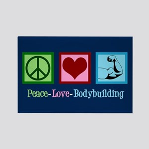 Peace Love Bodybuilding Rectangle Magnet