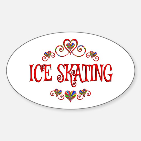 Ice Skating Hearts Sticker (Oval)
