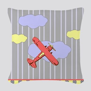 Little Red Airplane Stripes Woven Throw Pillow