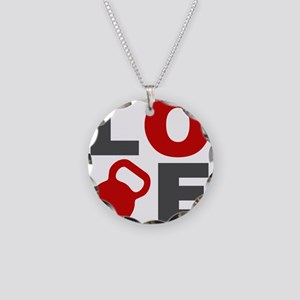 Love Kettlebell Necklace Circle Charm