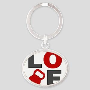 Love Kettlebell Oval Keychain