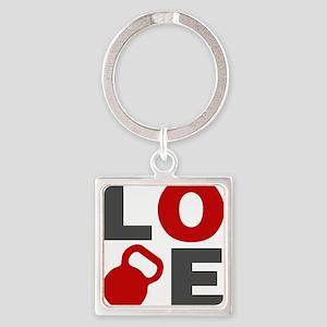 Love Kettlebell Square Keychain