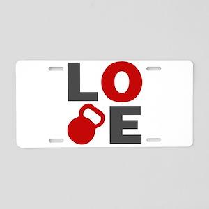 Love Kettlebell Aluminum License Plate