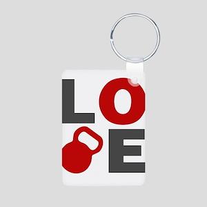 Love Kettlebell Aluminum Photo Keychain
