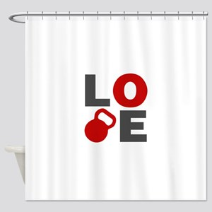 Love Kettlebell Shower Curtain