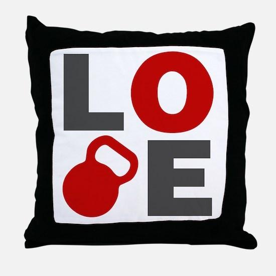 Love Kettlebell Throw Pillow
