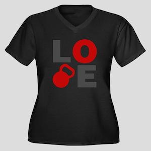 Love Kettleb Women's Plus Size V-Neck Dark T-Shirt