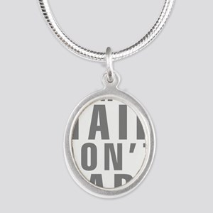 Camping Hair Don't Care Silver Oval Necklace