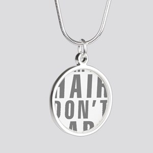 Camping Hair Don't Care Silver Round Necklace