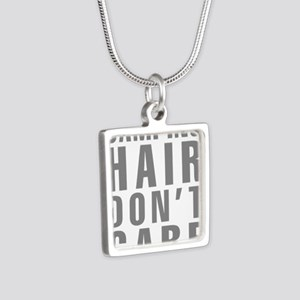 Camping Hair Don't Care Silver Square Necklace