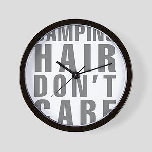 Camping Hair Don't Care Wall Clock