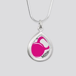 Lift More Kettlebell Silver Teardrop Necklace