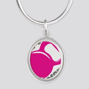 Lift More Kettlebell Silver Oval Necklace