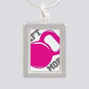 Lift More Kettlebell Silver Portrait Necklace