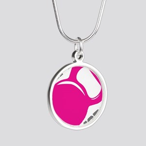 Lift More Kettlebell Silver Round Necklace