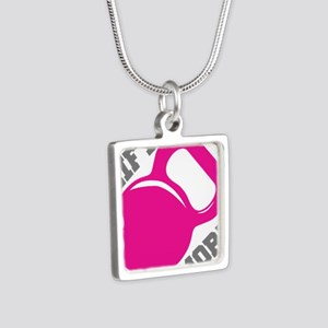 Lift More Kettlebell Silver Square Necklace