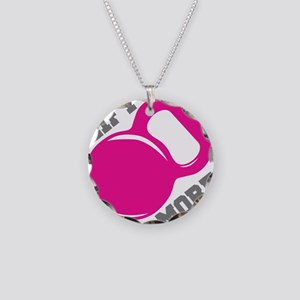 Lift More Kettlebell Necklace Circle Charm