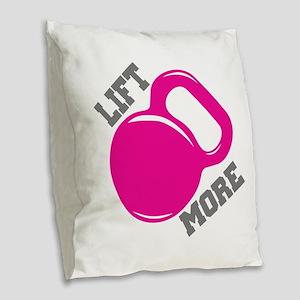 Lift More Kettlebell Burlap Throw Pillow