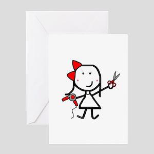 Girl & Hair Dryer Greeting Card