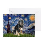Starry - Aussie Shep (tri-L) Greeting Cards (Pk of