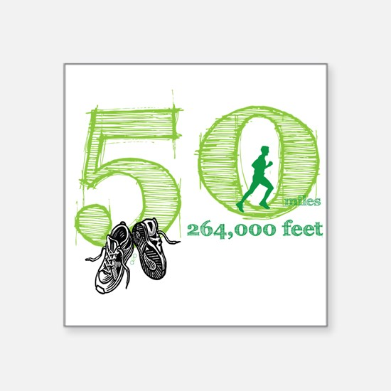"Cute 50 mile race Square Sticker 3"" x 3"""