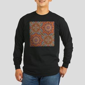 turquoise orange bohemian moro Long Sleeve T-Shirt