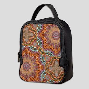 turquoise orange bohemian moroc Neoprene Lunch Bag