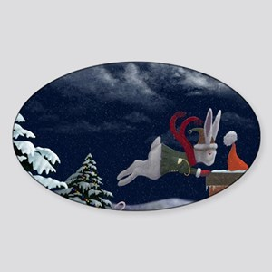White Rabbit Christmas Sticker (Oval)