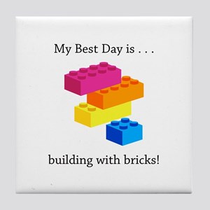 Best Day Building With Bricks Gifts Tile Coaster
