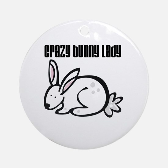 Crazy Bunny Lady Round Ornament