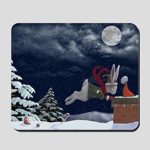 White Rabbit Christmas Mousepad