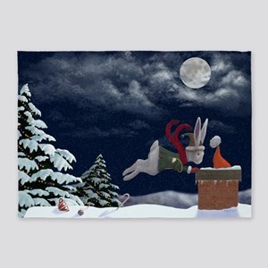 White Rabbit Christmas 5'x7'Area Rug