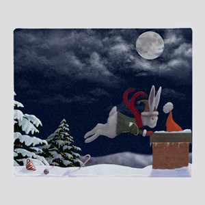 White Rabbit Christmas Throw Blanket