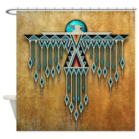 Southwest native style thunderbird shower curtain by for Native american tile designs