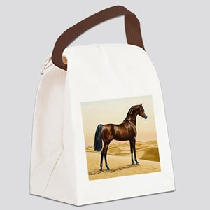 Vintage Arabian Horse Painting by Canvas Lunch Bag