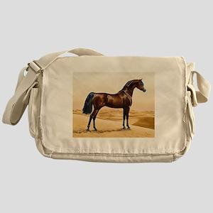 Vintage Arabian Horse Painting by Wi Messenger Bag