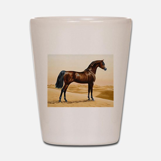 Vintage Arabian Horse Painting by Willi Shot Glass