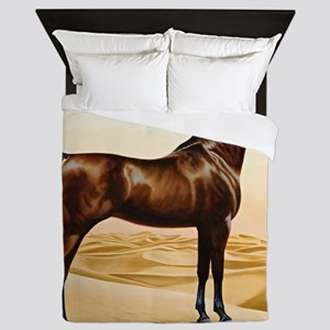 Vintage Arabian Horse Painting by Will Queen Duvet