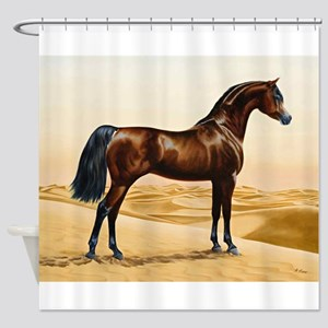 Vintage Arabian Horse Painting by W Shower Curtain