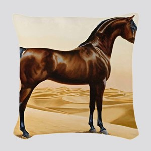 Vintage Arabian Horse Painting Woven Throw Pillow
