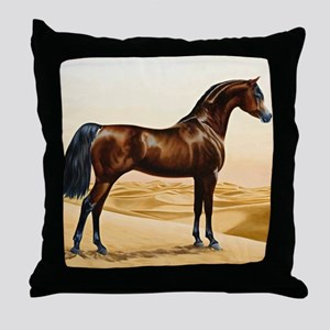 Vintage Arabian Horse Painting by Wil Throw Pillow
