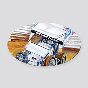 Coming in hot! Oval Car Magnet