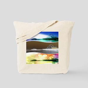 Santa Monica Pier Tricolor Tote Bag