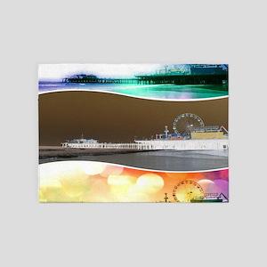 Santa Monica Pier Tricolor 5'x7'Area Rug