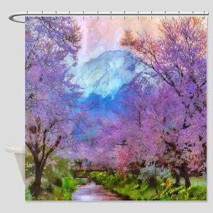Cherry Blossom Mountain Shower Curtain