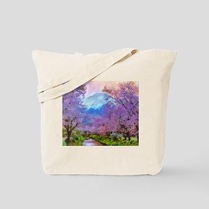 Cherry Blossom Mountain Tote Bag