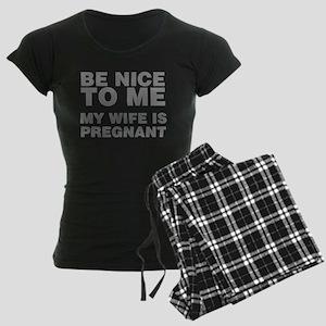 Be Nice To Me My Wife Is Pre Women's Dark Pajamas